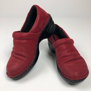 BOC Red Leather Clogs